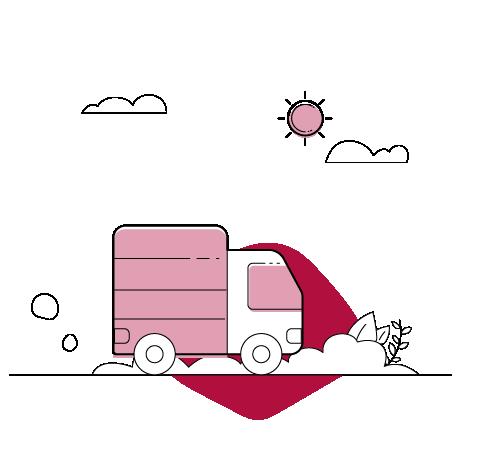 Illustration LKW auf dem Weg zum Umzug