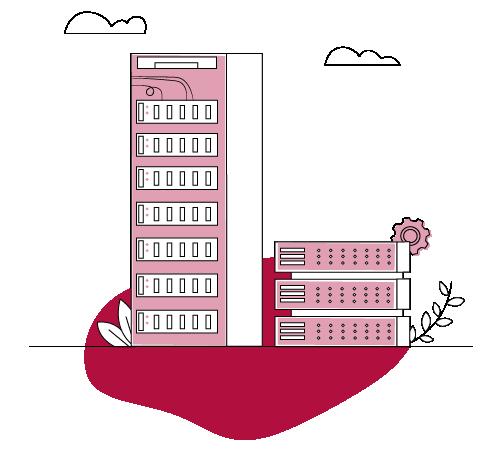 Illustration Serverschrank und Appliance
